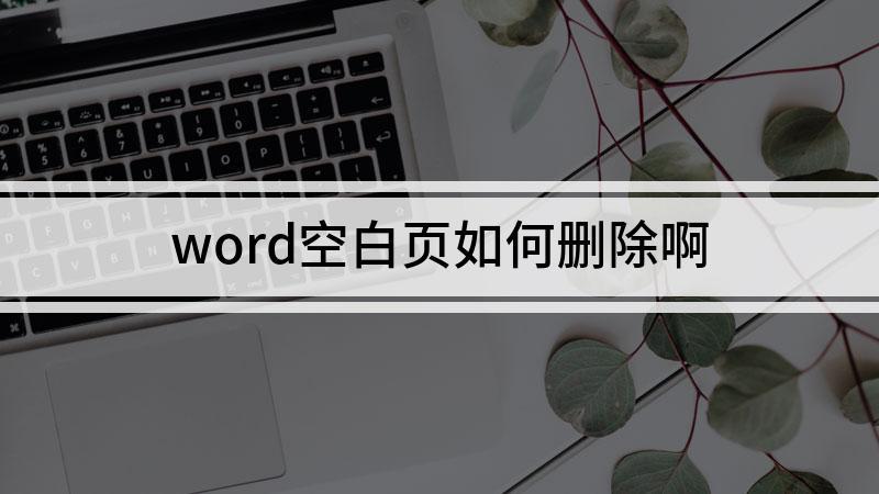 word空白页如何删除啊
