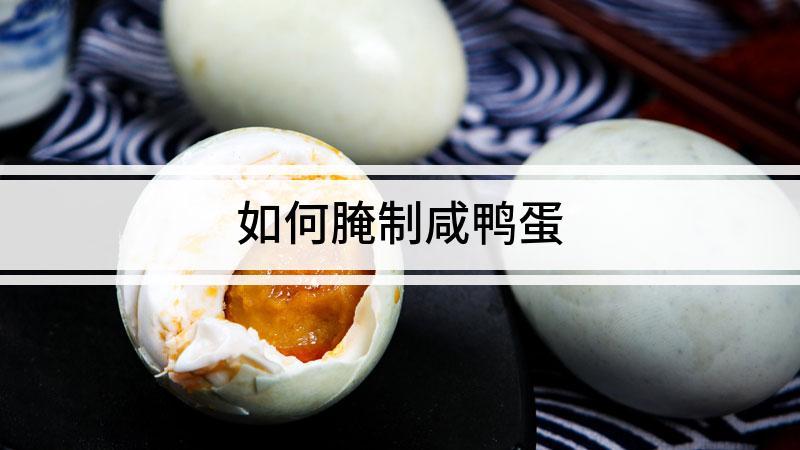 如何腌制咸鸭蛋