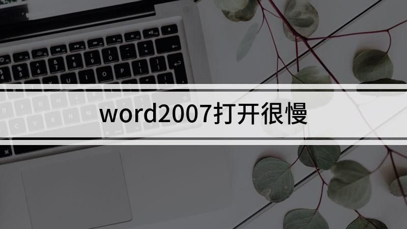 word2007打开很慢