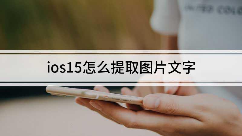ios15怎么提取图片文字